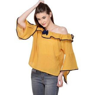 1a13591d1784e4 Buy Raabta Fashion Mustard Yellow Cold Shoulder top with Black Tai ...