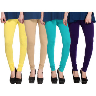 Hothy Skin Fit Leggings-(Purple,Light Green,Tan,Yellow)