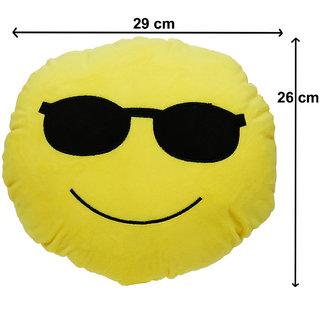 Aarushi Stuffed Soft Smiley Emoji Cushion For Kids Yellow Colour