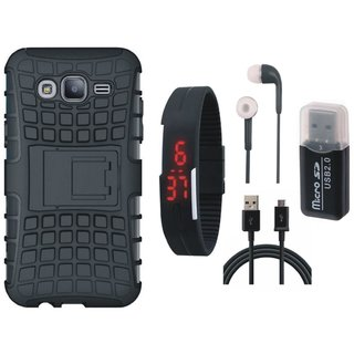 Moto C Plus Shockproof Tough Armour Defender Case with Memory Card Reader, Digital Watch, Earphones and USB Cable