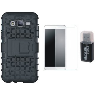 Moto C Plus Shockproof Tough Armour Defender Case with Memory Card Reader, Tempered Glass