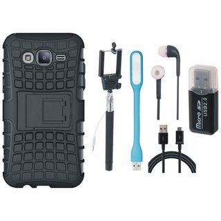 Oppo F1s Defender Back Cover with Kick Stand with Memory Card Reader, Selfie Stick, Earphones, USB LED Light and USB Cable