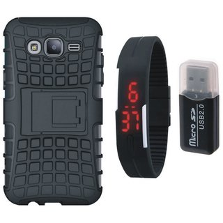 Moto C Plus Defender Tough Armour Shockproof Cover with Memory Card Reader, Digital Watch