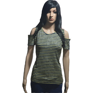 Casual Half Sleeve Stripped Women's  Top