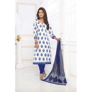 Ganpati Unstitched Pure Cotton Dress Material / Churidar Suit for Women