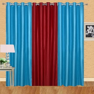 Idole Polyester Blue Red Plain Door Curtains 7 Feet In Height Pack Of