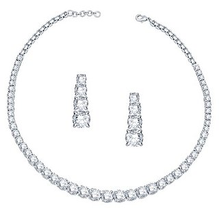 VK Jewels Solitaire Rhodium Plated Necklace with Earring Set- NKS 1004R
