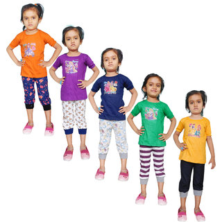 Jisha Fashion Cotton Multicolour Girls Top  Capri (JVGPC) ( Pack of 5)