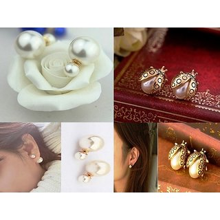 European  American Large Double Side Pearl  Lady Bug pearl earring- Combo Deal