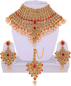 Lucky Jewellery LCT Red Semi Bridal Dulhan Wedding & Engagement Necklace set With Mang Tikka