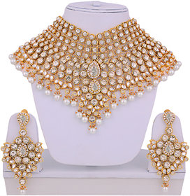 Lucky Jewellery White Semi Bridal Dulhan Wedding & Engagement Necklace set With Mang Tikka