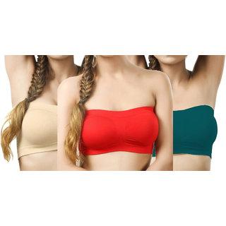 Hothy Women Tube Multicolor Bra (Pack of 3)