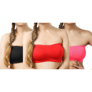 Hothy Women Tube Multicolor Bra (Pack of 3)
