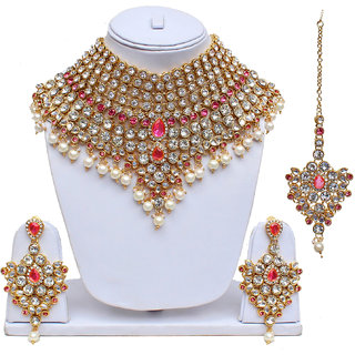 Lucky Jewellery Pink Green Semi Bridal Dulhan Wedding & Engagement Necklace set With Mang Tikka