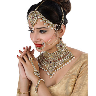 Lucky Jewellery Maroon Bridal Dulhan Wedding  Engagement Necklace set With Mang Tikka