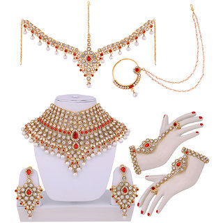 Lucky Jewellery Red Bridal Dulhan Wedding  Engagement Necklace set With Mang Tikka