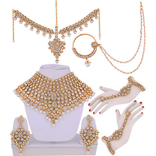 Lucky Jewellery White Bridal Dulhan Wedding  Engagement Necklace set With Mang Tikka
