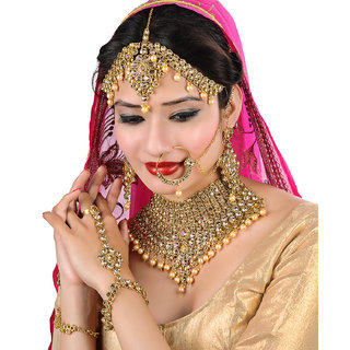 Lucky Jewellery LCT Golden Bridal Dulhan Wedding  Engagement Necklace set With Mang Tikka