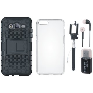 Moto C Plus Shockproof Kick Stand Defender Back Cover with Memory Card Reader, Silicon Back Cover, Selfie Stick and Earphones