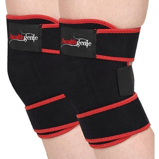 Healthgenie Adjustable Knee Support (One Pair), Free Size Fits Most (Black)  Elastic and Durable Neoprene  Reduces Ris