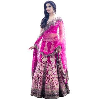 6524b6b95b Sancom Pink Color Banglori Silk With Embroidery Work Semi-Stitched Lehenga  Choli-60339