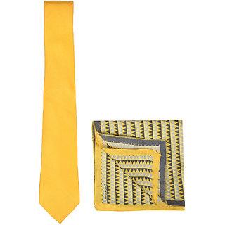 9d22f2dc6f95 Buy Chokore Yellow silk tie Tangerine Grey Silk Pocket Square set ...