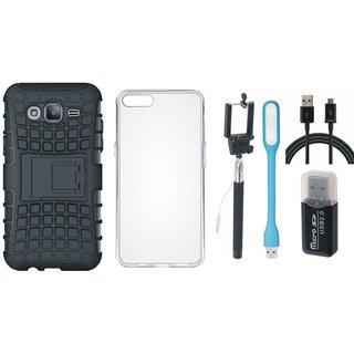 Samsung J5 2016 Model SM-J510 Defender Tough Hybrid Shockproof Cover with Memory Card Reader, Silicon Back Cover, Selfie Stick, USB LED Light and USB Cable