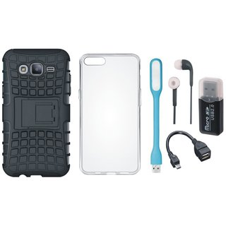 Moto C Plus Shockproof Kick Stand Defender Back Cover with Memory Card Reader, Silicon Back Cover, Earphones, USB LED Light and OTG Cable