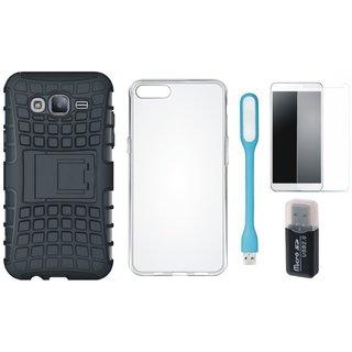 Samsung J5 2016 Model SM-J510 Shockproof Kick Stand Defender Back Cover with Memory Card Reader, Silicon Back Cover, Tempered Glas and USB LED Light