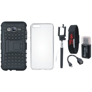 Moto C Plus Defender Back Cover with Kick Stand with Memory Card Reader, Silicon Back Cover, Selfie Stick, Digtal Watch and OTG Cable