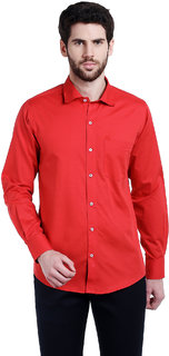 Lisova Tomato Red Solid Slim Fit Casual Shirt