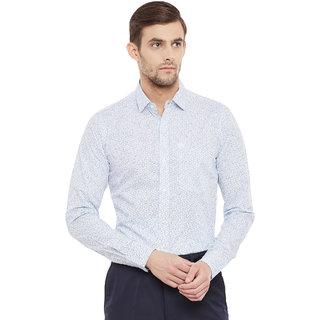 Lisova White Square Printed Slim Fit Casual Shirt