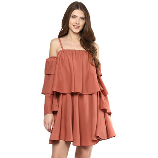 9071c2ee3152 Buy D amor Off Shoulder Gather Rust Dress For Women s Online - Get ...