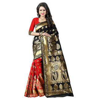 JDEnterprise Multicolor Art Silk Self Design Saree Without Blouse