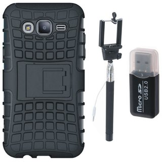 Samsung J7 Pro Shockproof Tough Defender Cover with Memory Card Reader, Free Silicon Back Cover and Selfie Stick
