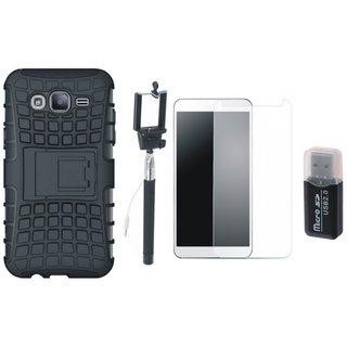 Vivo V3 Shockproof Kick Stand Defender Back Cover with Memory Card Reader, Free Selfie Stick and Tempered Glass