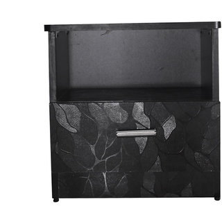 Caspian Leaf Textured Side Table With 1 Drawer