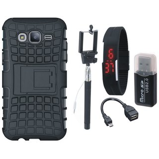 Oppo F5 Shockproof Tough Armour Defender Case with Memory Card Reader, Selfie Stick, Digtal Watch and OTG Cable