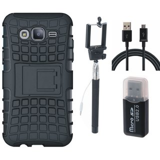 Samsung J7 Pro Shockproof Tough Defender Cover with Memory Card Reader, Selfie Stick and USB Cable