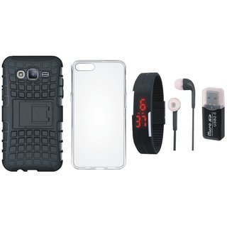 Samsung J7 Pro Shockproof Tough Defender Cover with Memory Card Reader, Silicon Back Cover, Digital Watch and Earphones