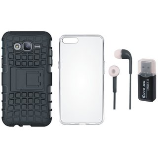Oppo F5 Shockproof Kick Stand Defender Back Cover with Memory Card Reader, Silicon Back Cover and Earphones