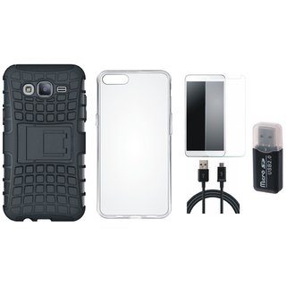 Oppo F5 Shockproof Tough Armour Defender Case with Memory Card Reader, Silicon Back Cover, Tempered Glass and USB Cable