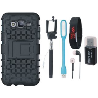 Samsung J7 Pro Defender Tough Hybrid Shockproof Cover with Memory Card Reader, Selfie Stick, Digtal Watch, Earphones and USB LED Light