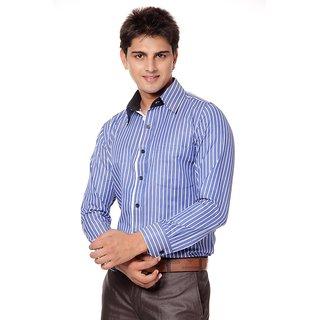 Blue Stripe Full Sleeves Shirt For Men