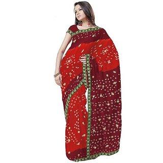 Exclusive Chiffon Bandhej Maroon Saree Blouse 177