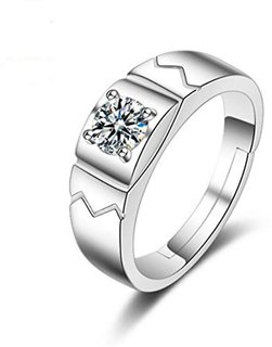 Limited Edition Sterling Silver Cubic Zirconia Solitaire Adjustable Mens Rings DC- 108