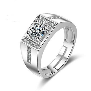Limited Edition Sterling Silver Cubic Zirconia Solitaire Adjustable Mens Rings DC -109