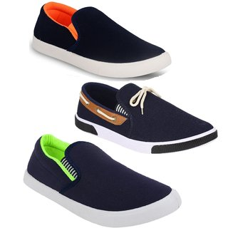 Chevit Men's Men's Trio COMBO Of 3 Casual Loafers, Sneakers Shoes (Moccasins  Sports shoes)
