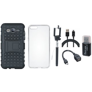 Oppo F5 Shockproof Kick Stand Defender Back Cover with Memory Card Reader, Silicon Back Cover, Selfie Stick, OTG Cable and USB Cable