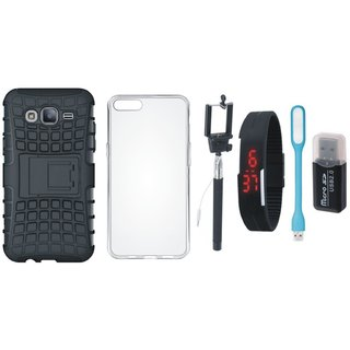 Samsung J7 Pro Shockproof Kick Stand Defender Back Cover with Memory Card Reader, Silicon Back Cover, Selfie Stick, Digtal Watch and USB LED Light